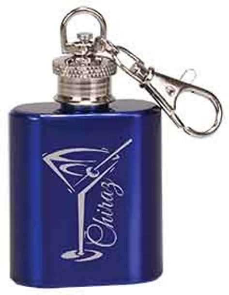 1 oz. Blue Stainless Steel Flask Keychain