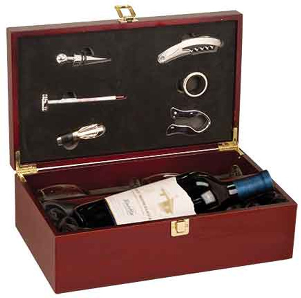 Engraved Rosewood Finish Wine Box with Glasses