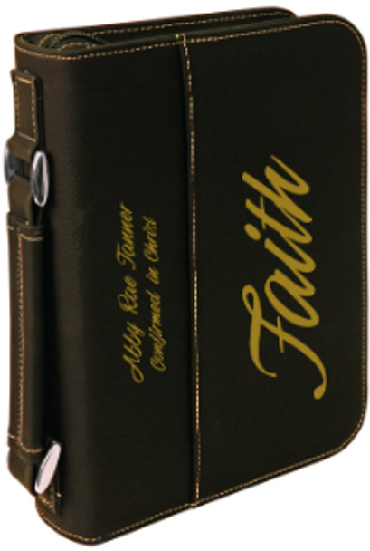 Black/Gold Leatherette Book Cover w/ Zipper with Custom Laser Engraving