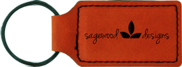 Rawhide Leatherette Rectangle Keychain with Custom Laser Engraving