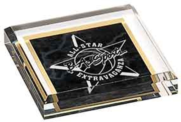 "Custom Engraved Black Marbleized Acrylic Paperweight (3.75"" x 3.75"")"