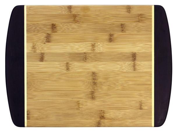 "Engraved Dark Two-Tone Bamboo Cutting Board 15"""
