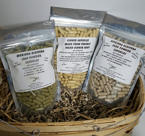 20 % OFF SALE NEW TRIPLE COMBO PACK!  Organic Moringa Leaf, Seed and Ginger Root Powder Capsules! 300 Each