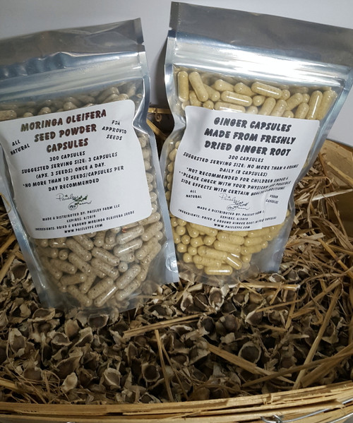 20 % OFF SALE *NEW* COMBO! ORGANIC! Seed Powder Capsules and Ginger Root Powder Capsules (300 each)