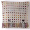 BRONTE BEIGE MULTI SPOT BLANKET AND 2 x FEATHER FILLED CUSHIONS MOONS THROW