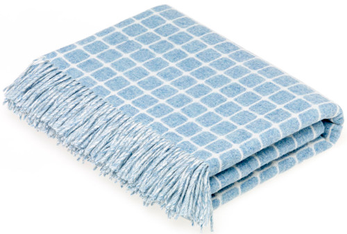 BRONTE ATHENS AQUA PURE NEW SOFT MERINO LAMBSWOOL BLANKET THROW MOONS