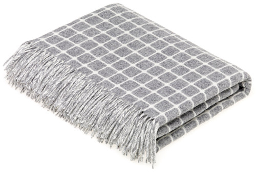 BRONTE ATHENS GREY PURE NEW SOFT MERINO LAMBSWOOL BLANKET THROW MOONS