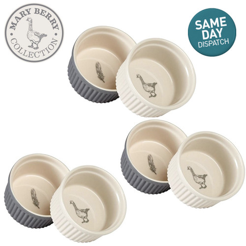 Mary Berry Set of 6 Ceramic Ramekins With The Goose & Fern Design Grey & Cream