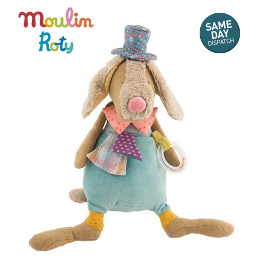 Moulin Roty Soft Fabric Large Activity Musical Dog Jean Jean For Baby & Upward Ideal Gift
