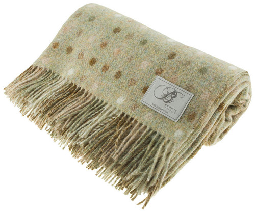Bronte Spot Check Sage Green 100% Pure New Shetland Wool Blanket Throw Made in UK By Moons