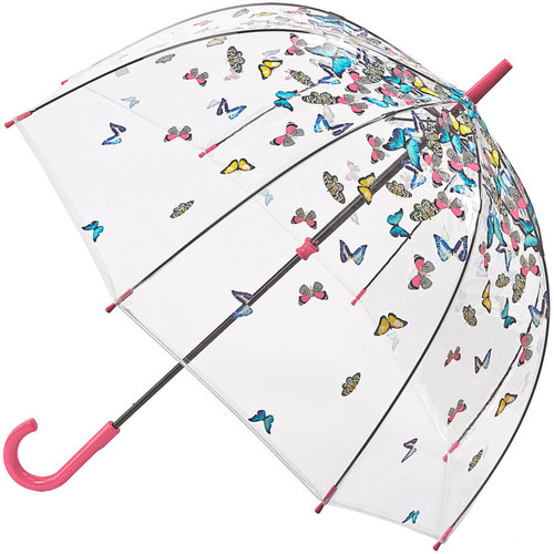 Fulton Raining Butterflies Birdcage Walking Umbrella Black Steel Frame