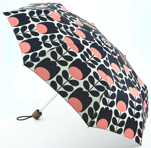 Orla Kiely Tulip Stem Minilite Compact Folding Umbrella Matching Cover Closed: 25cm