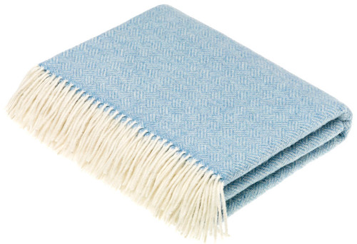Bronte Parquet Aqua Blue Soft Lambswool Blanket Throw 100% New Wool Moons