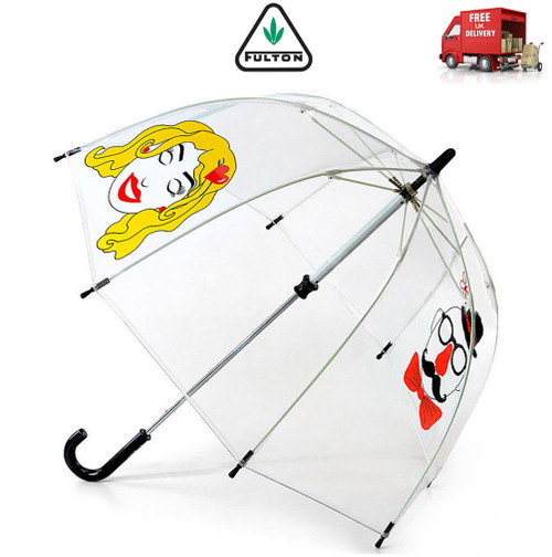Fulton Funbrella Funny Faces Childs Clear Birdcage Walking Umbrella