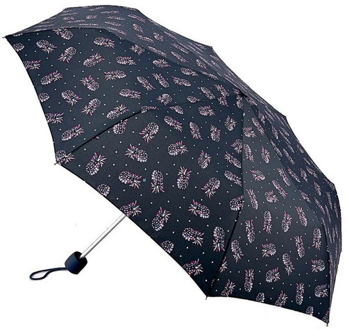 Fulton Pineapple Navy Compact Minilite Folding Umbrella Handbag Size