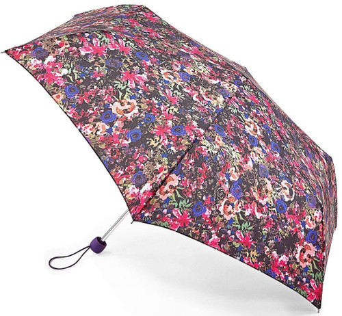 Fulton Digital Garden Compact Superslim Folding Umbrella Handbag Size With Matching Cover