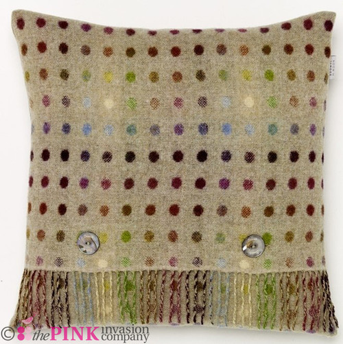 BRONTE PISTACHIO MULTI SPOT LAMBSWOOL FEATHER FILLED PURE WOOL CUSHION 40x40 cm