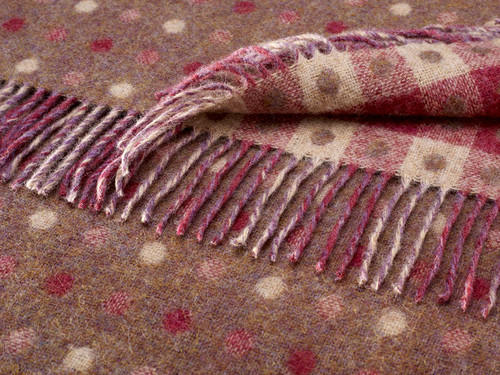 BRONTE PURE SHETLAND WOOL GRAPE SPOT REVERSIBLE BLANKET THROW 140 x 185cm