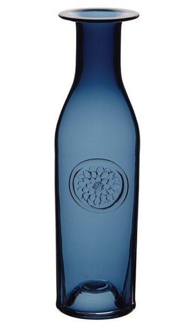 DARTINGTON CRYSTAL LARGE FLOWER BOTTLE VASE DAHLIA INK BLUE 35 cm