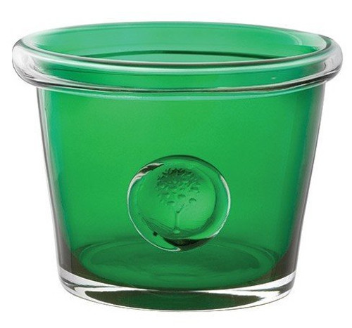 DARTINGTON RHS BOTTLE GREEN GLASS FLOWER POT HOLDER H=10 W=13cm