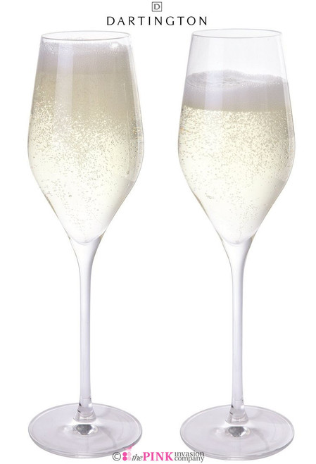 DARTINGTON CRYSTAL 2x PROSECCO GLASSES CLEAR PAIR IN GIFT BOX WINE & BAR