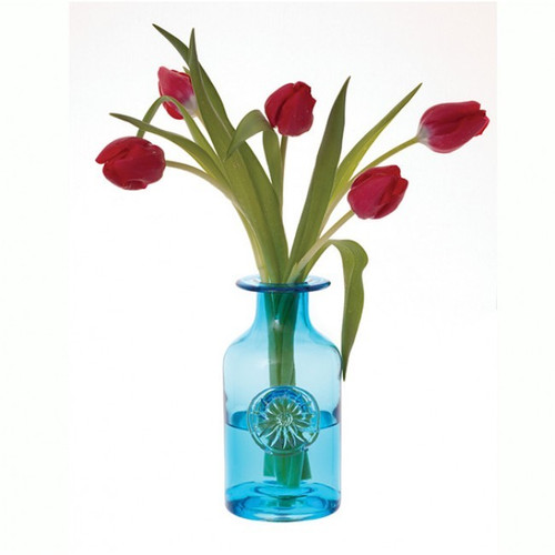DARTINGTON CRYSTAL GLASS FLOWER BOTTLE MEDIUM BLUE DAISY TURQUOISE VASE
