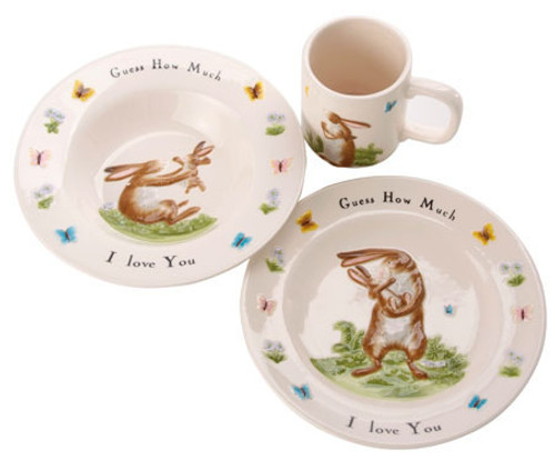 JOHN BESWICK GUESS HOW MUCH I LOVE YOU 3 PIECE NURSERY SET MUG PLATE & BOWL