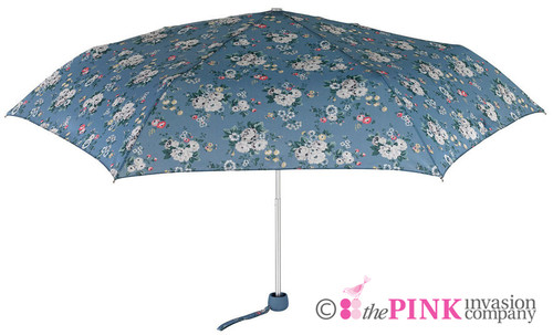 CATH KIDSTON SPRAY FLOWERS DENIM SUPERSLIM HANDBAG SIZE FOLDING UMBRELLA