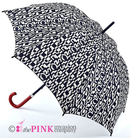 LULU GUINNESS CUT UP LOGO KENSINGTON DESIGNER UMBRELLA WALKING BROLLY