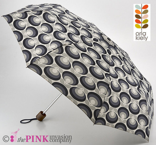 ORLA KIELY SEVENTIES FLOWER OVAL COOL GREY DESIGNER UMBRELLA MINILITE
