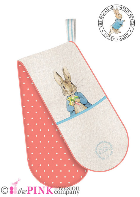 PETER RABBIT CLASSIC RANGE KITCHEN DOUBLE OVEN GLOVE 100% COTTON STOW GREEN