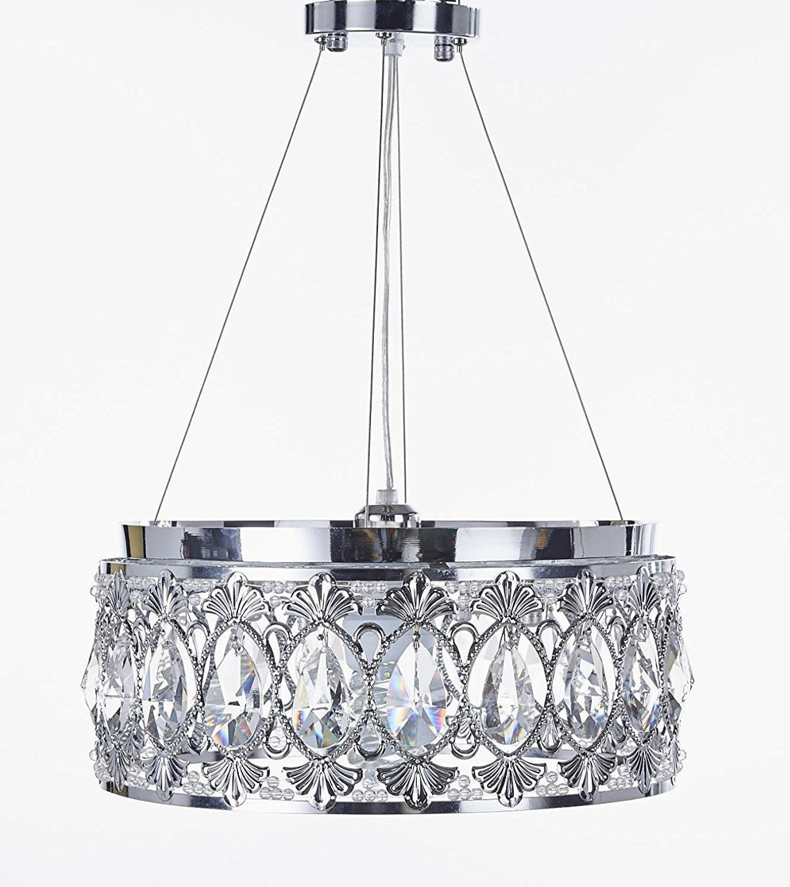 decorative laquila leaf detail in pendant silver and light gold distressed antique chandelier image
