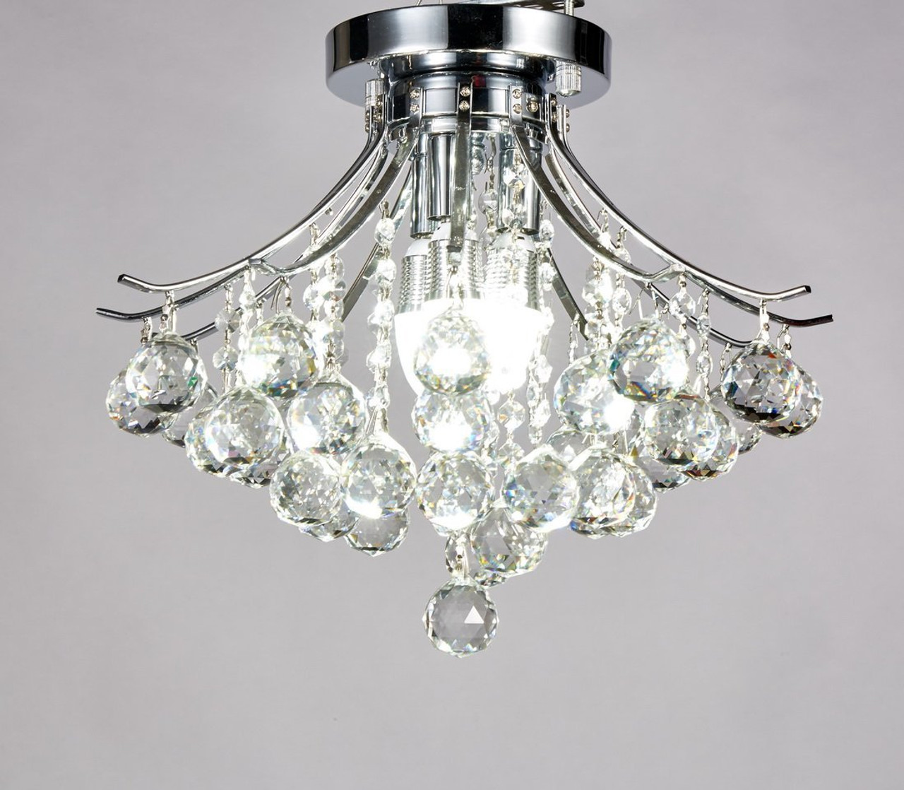 Diamond Life Modern Style 3-Light Chrome Finish Crystal Chandelier ...
