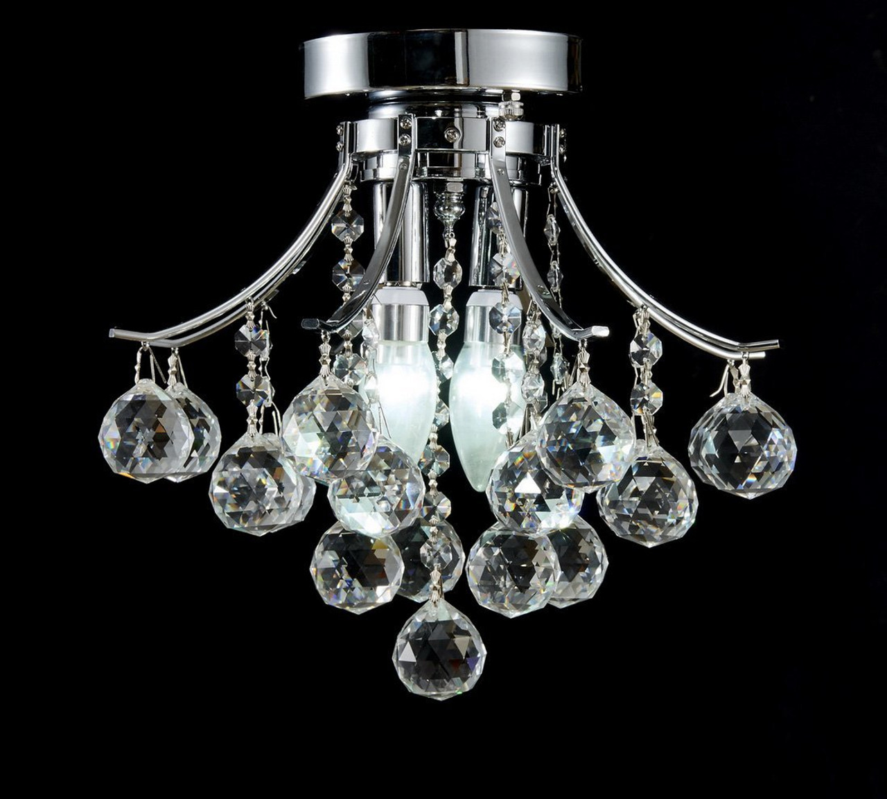 Diamond life modern style 2 light chrome finish crystal chandelier diamond life modern style 2 light chrome finish crystal chandelier flush mount ceiling light fixture aloadofball Image collections