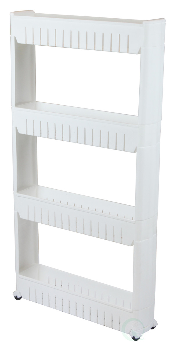 ... Slim Storage Cabinet Organizer 4 Shelf Rolling Pull Out Cart Rack Tower  With Wheels ...