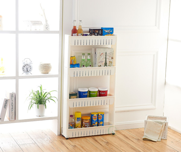 Slim Storage Cabinet Organizer 4 Shelf Rolling Pull Out Cart Rack Tower with Wheels