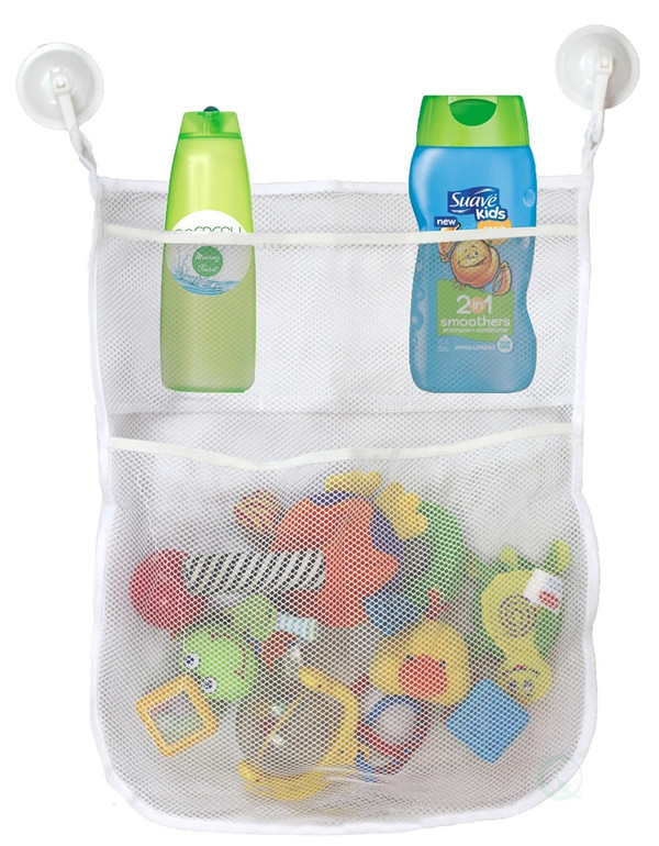 4-Section Bath Toy Organizer With 2 Hook Suction Cups