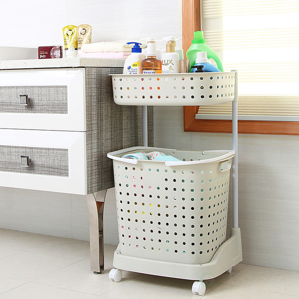 2 Tier Plastic Laundry Basket with Wheels