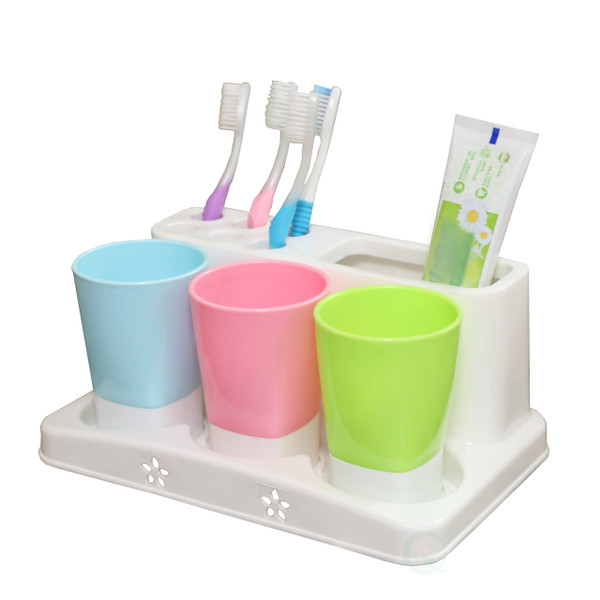 Family Size Toothbrush and Toothpaste Holder with 3 Cups