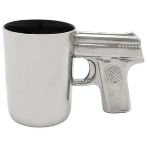 CERAMIC GUN MUG CHROME 16.9 OZ