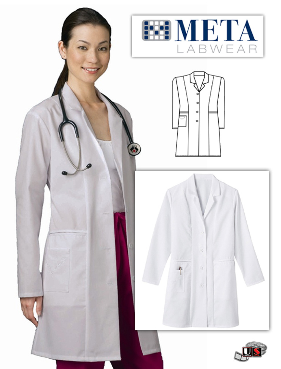 Figure 1: A great example of crisp white lab coats with logo embroidered on  the