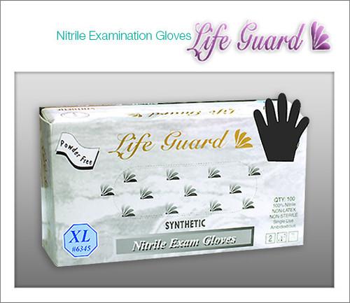 LIFE GUARD Examination Nitrile Gloves - Black Color - 100 Gloves / BOX