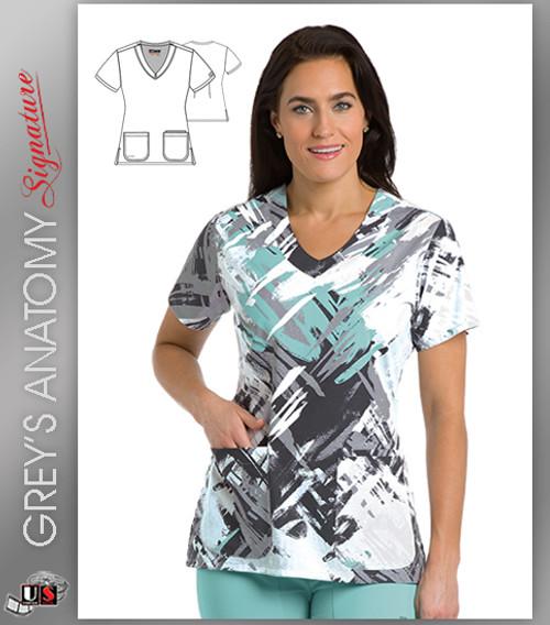 Grey's Anatomy™ Signature Women's V-Neck Hypnotic Print Scrub Top