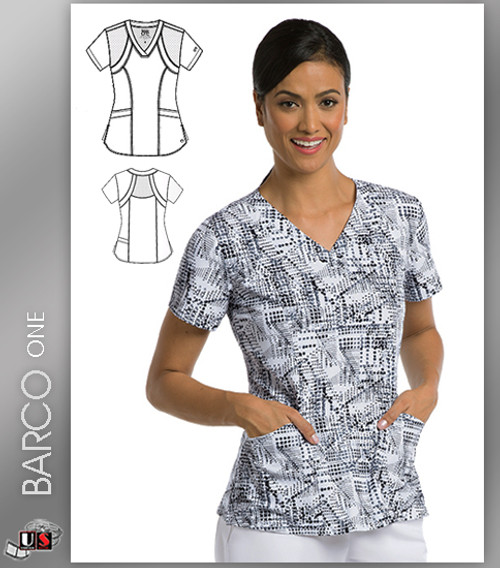 Barco One Accelerate Print V-Neck Scrub Top