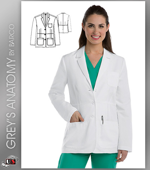 "Greys Anatomy 28"" 3 Pocket Lab Coat"