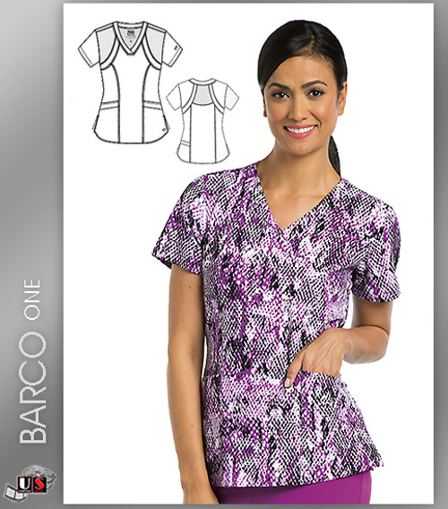 Barco One Cobra Print V-Neck Scrub Top