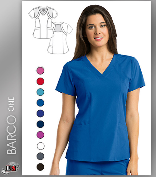 Barco One 4 Pocket Fashion V-Neck Scrub Tops