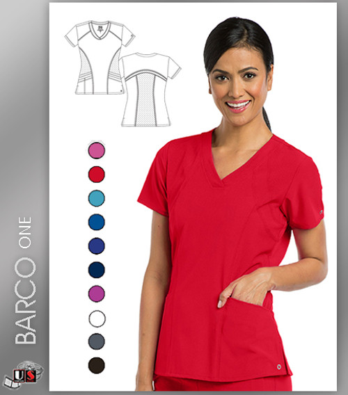 Barco One 5-Pocket Sporty V-Neck Scrub Tops