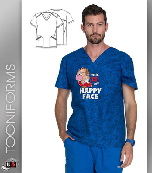 Cherokee Tooniforms Happy Face Men's Print V-Neck Scrub Tops