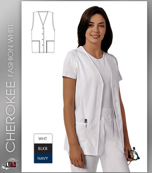 Cherokee Fashion Solids WHITE Button Front Vest